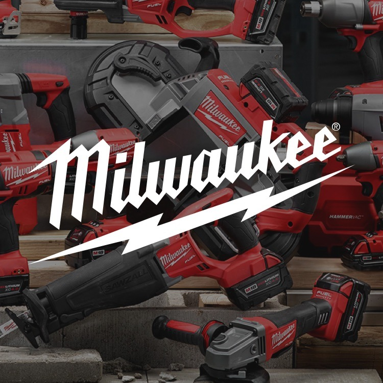 Milwaukee logo with Milwaukee power tools