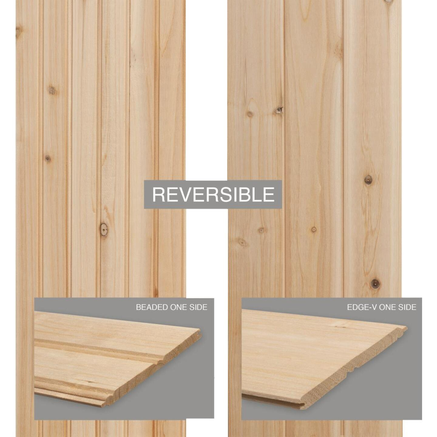 Global Product Sourcing 3-1/2 In. W. x 8 Ft. L. x 1/4 In. Thick Knotty Cedar Reversible Profile Wall Plank (6-Pack) Image 3