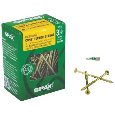 Spax #9 x 3-1/4 In. Flat Head Interior Multi-Material Construction Screw (1 Lb. Box)