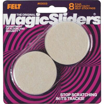 Magic Sliders 2 In. Round Oatmeal Self-Adhesive Heavy-Duty Furniture Pad (8-Pack)