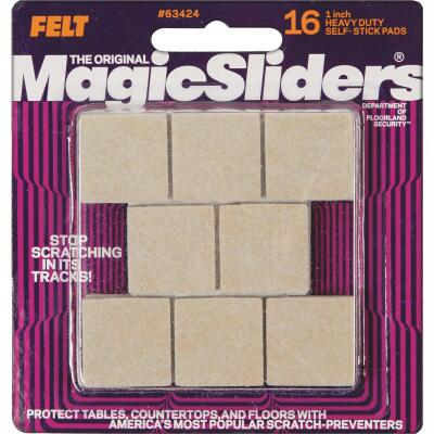 Magic Sliders 1 In. Square Oatmeal Self-Adhesive Heavy-Duty Furniture Pad (16-Pack)