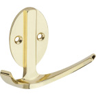 Stanley Home Designs Polished Brass Modern Double Robe Wardrobe Hook Image 1
