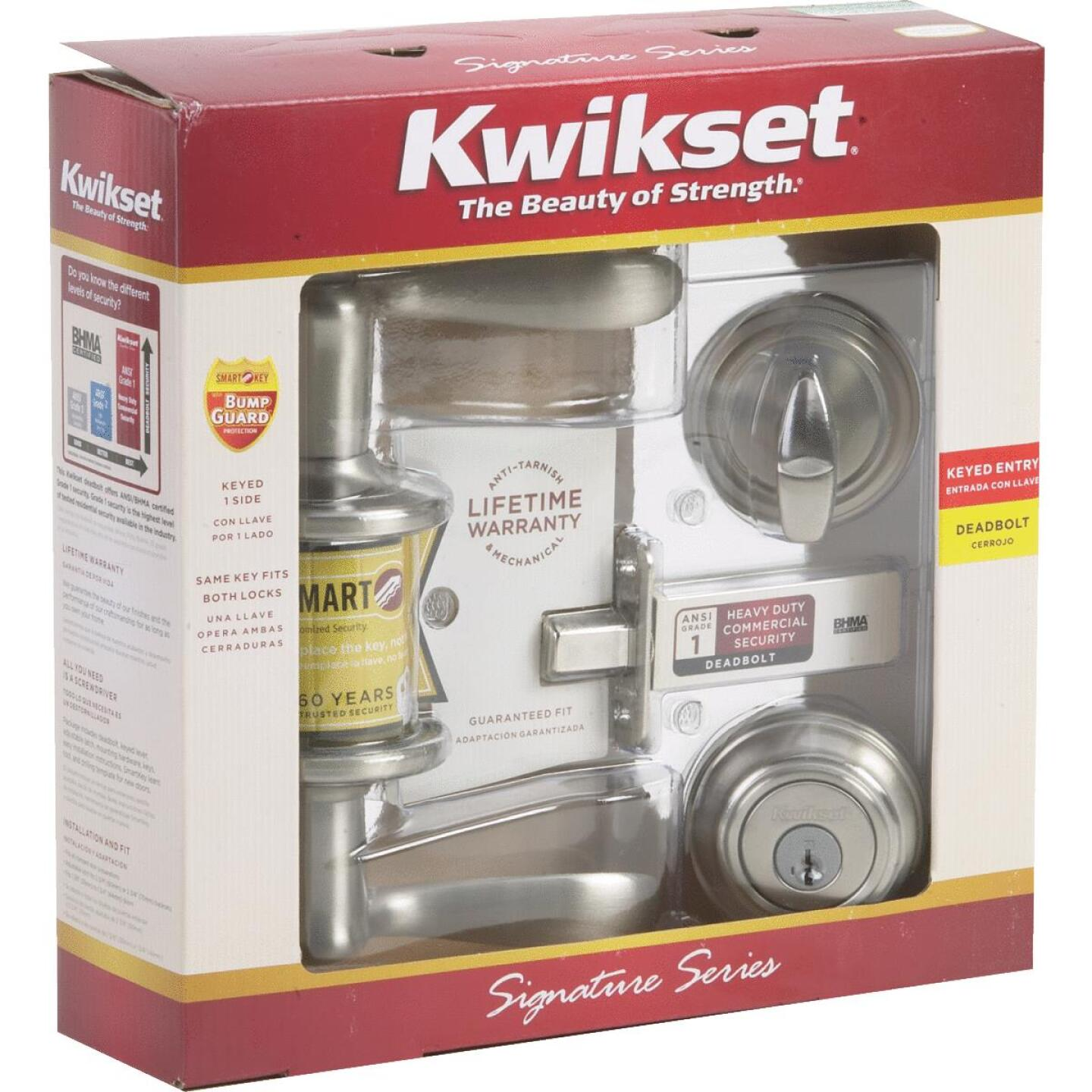 Kwikset Signature Series Satin Nickel Deadbolt and Lever Combo with Smartkey Image 2