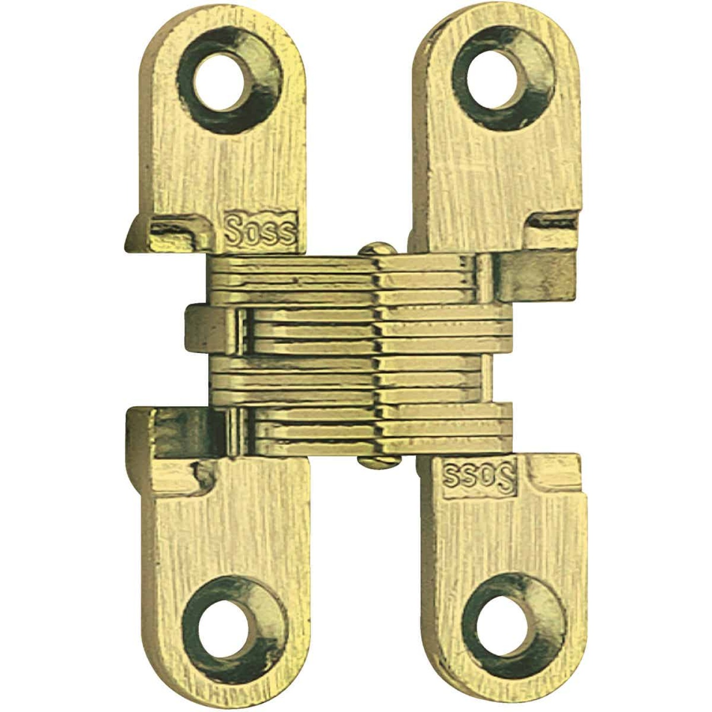SOSS Satin Brass 3/8 In. x 1 In. Invisible Hinge, (2-Pack) Image 1