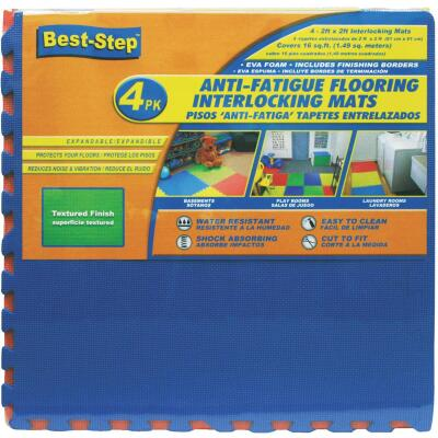 Best-Step 24 In. x 24 In. Primary Colors with Cross-Textured Finish Interlocking Anti-Fatigue Mat