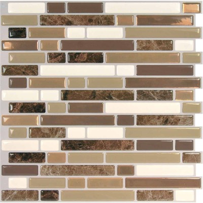 Smart Tiles 10 In. x 10.06 In. Glass-Like Plastic Backsplash Peel & Stick, Bellagio Nola Mosaic