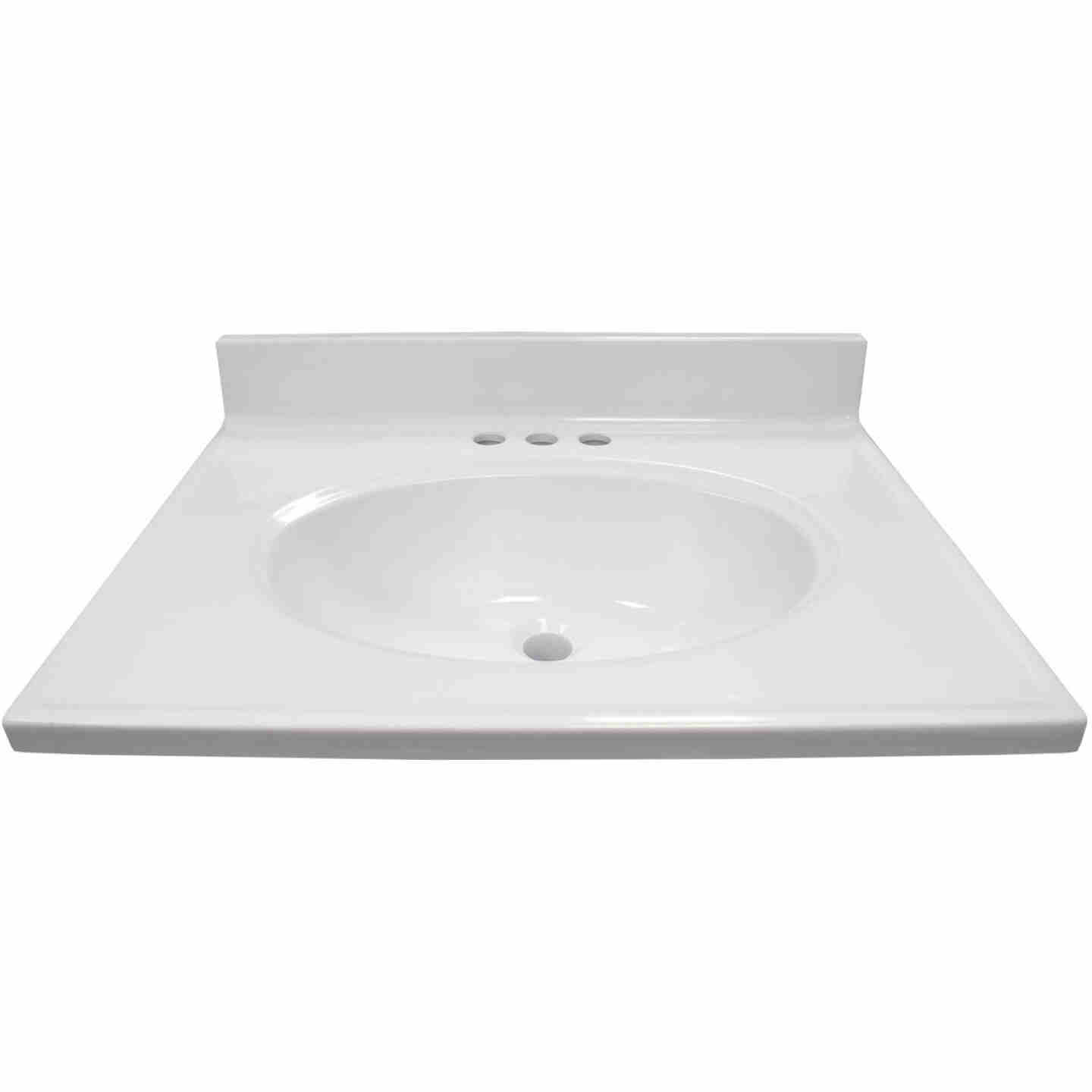 Modular Vanity Tops 25 In. W x 19 In. D Solid White Cultured Marble Non-Drip Edge Vanity Top with Oval Bowl Image 1