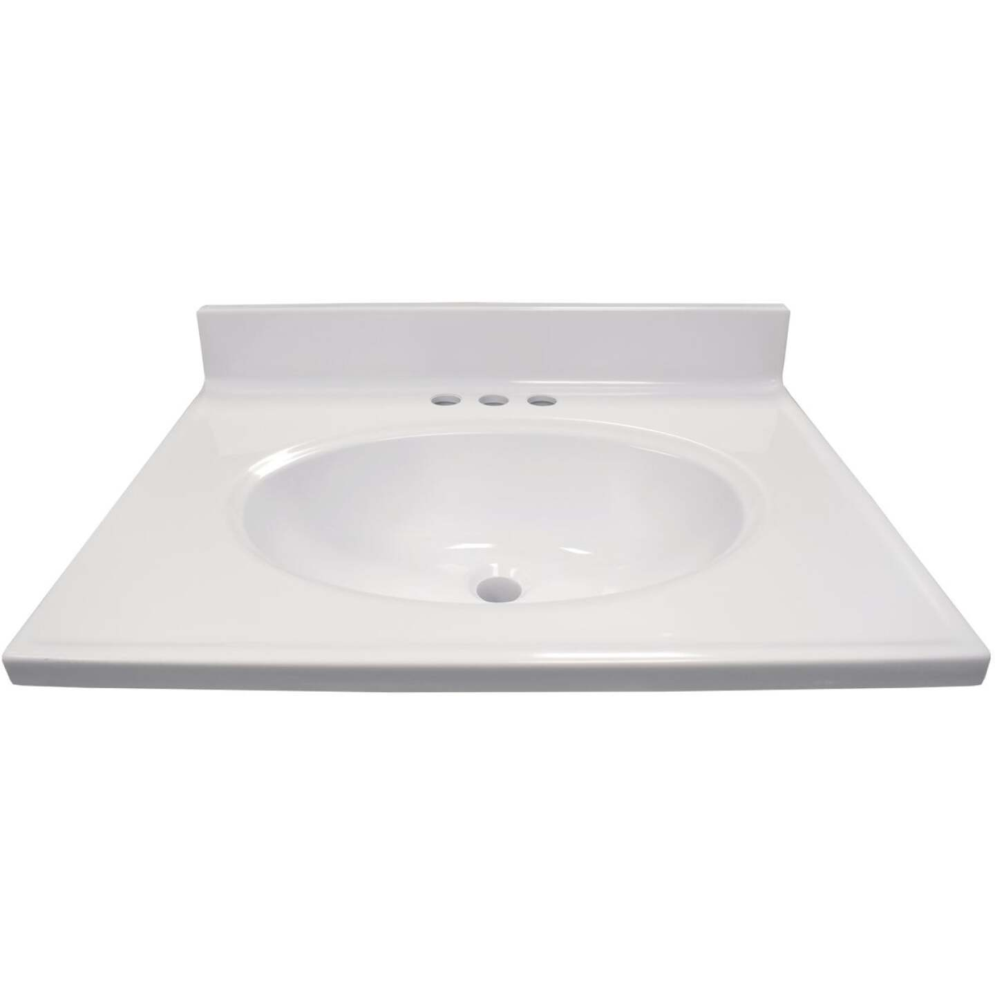 Modular Vanity Tops 25 In. W x 19 In. D Solid White Cultured Marble Vanity Top with Oval Bowl Image 1