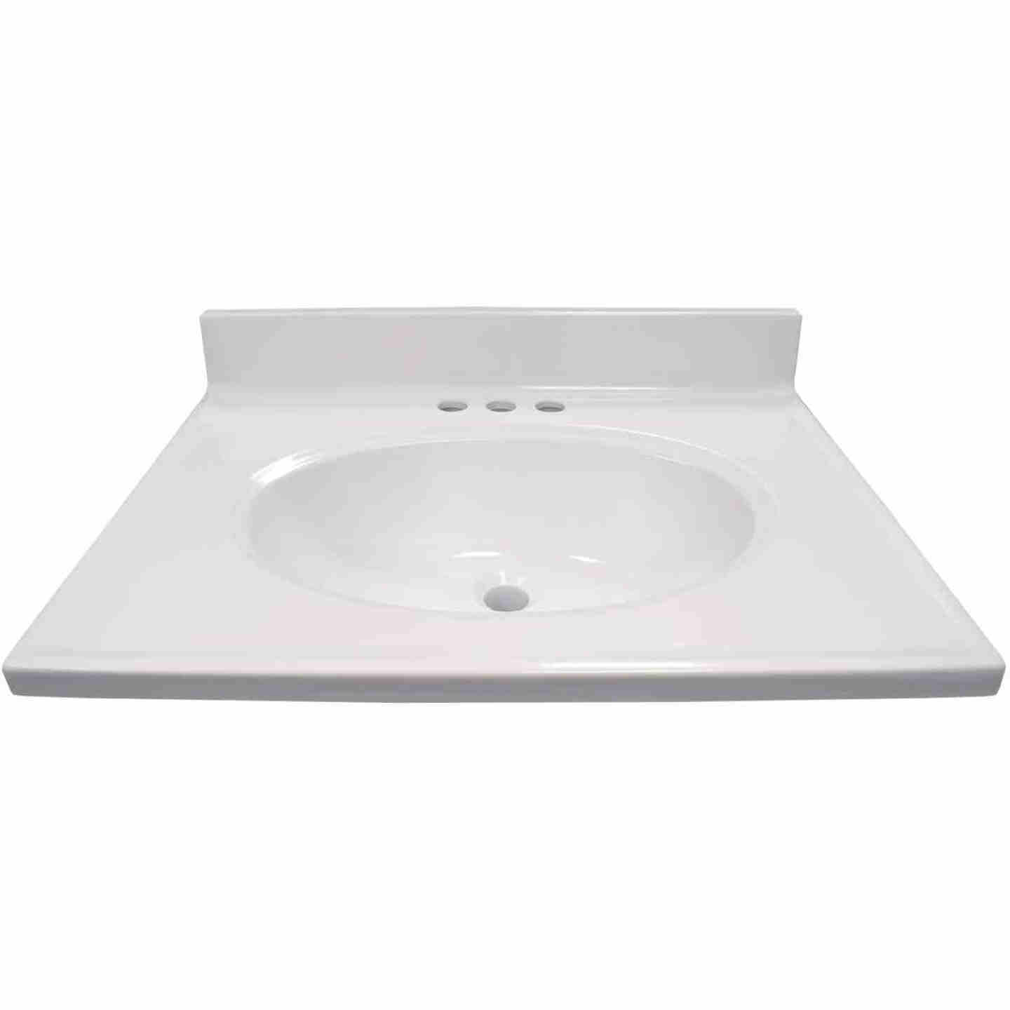 Modular Vanity Tops 25 In. W x 19 In. D Solid White Cultured Marble Non-Drip Edge Vanity Top with Oval Bowl Image 2