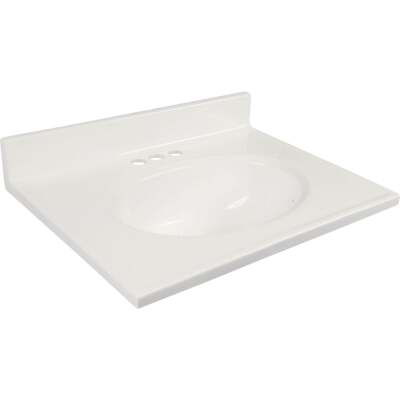 Modular Vanity Tops 31 In. W x 19 In. D Solid White Cultured Marble Non-Drip Edge Vanity Top with Oval Bowl