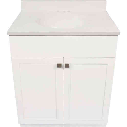 Modular Charleston White 30 In. W x 34-1/2 In. H x 18 In. D Vanity with White Cultured Marble Top