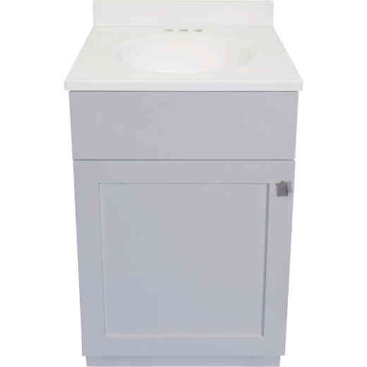 Modular Charleston Gray 18 In. W x 34-1/2 In. H x 16 In. D Vanity with White Cultured Marble Top