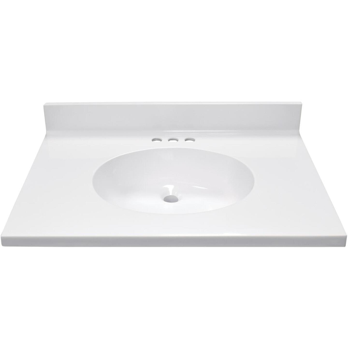Modular Vanity Tops 31 In. W x 22 In. D Solid White Cultured Marble Vanity Top with Oval Bowl Image 2