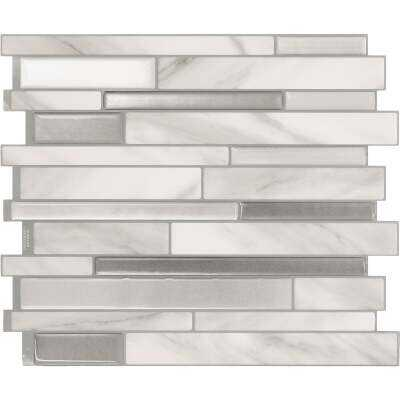 Smart Tiles Approx. 10 In. x 10 In. Glass-Like Vinyl Backsplash Peel & Stick, Milano Carrera Mosaic (4-Pack)