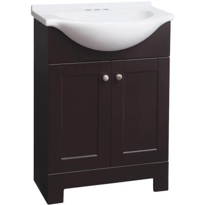 Continental Cabinets European Espresso 24 In. W x 33-1/2 In. H x 12-1/2 In. D Vanity with Cultured Marble Top