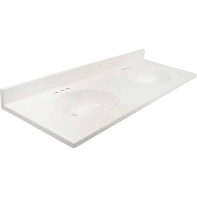 Modular Vanity Tops 61 In. W x 22 In. D Solid White Cultured Marble Flat Edge Vanity Top with Oval Bowl