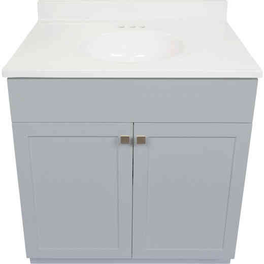 Modular Charleston Gray 36 In. W x 34-1/2 In. H x 21 In. D Vanity with White Cultured Marble Top