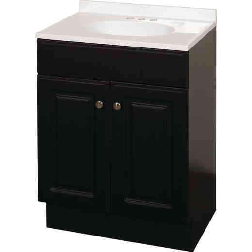 Zenith Zenna Home Espresso 24 In. W x 35 In. H x 18 In. D Vanity with White Cultured Marble Top