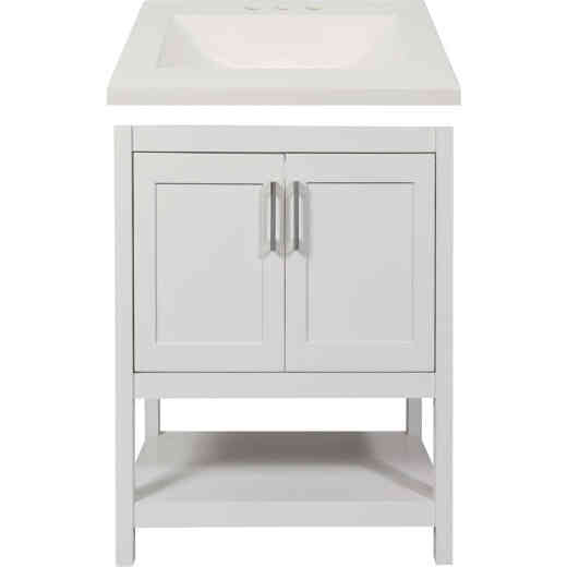 Modular Monaco White 24 In. W x 34-1/2 In. H x 18 In. D Vanity with White Cultured Marble Top