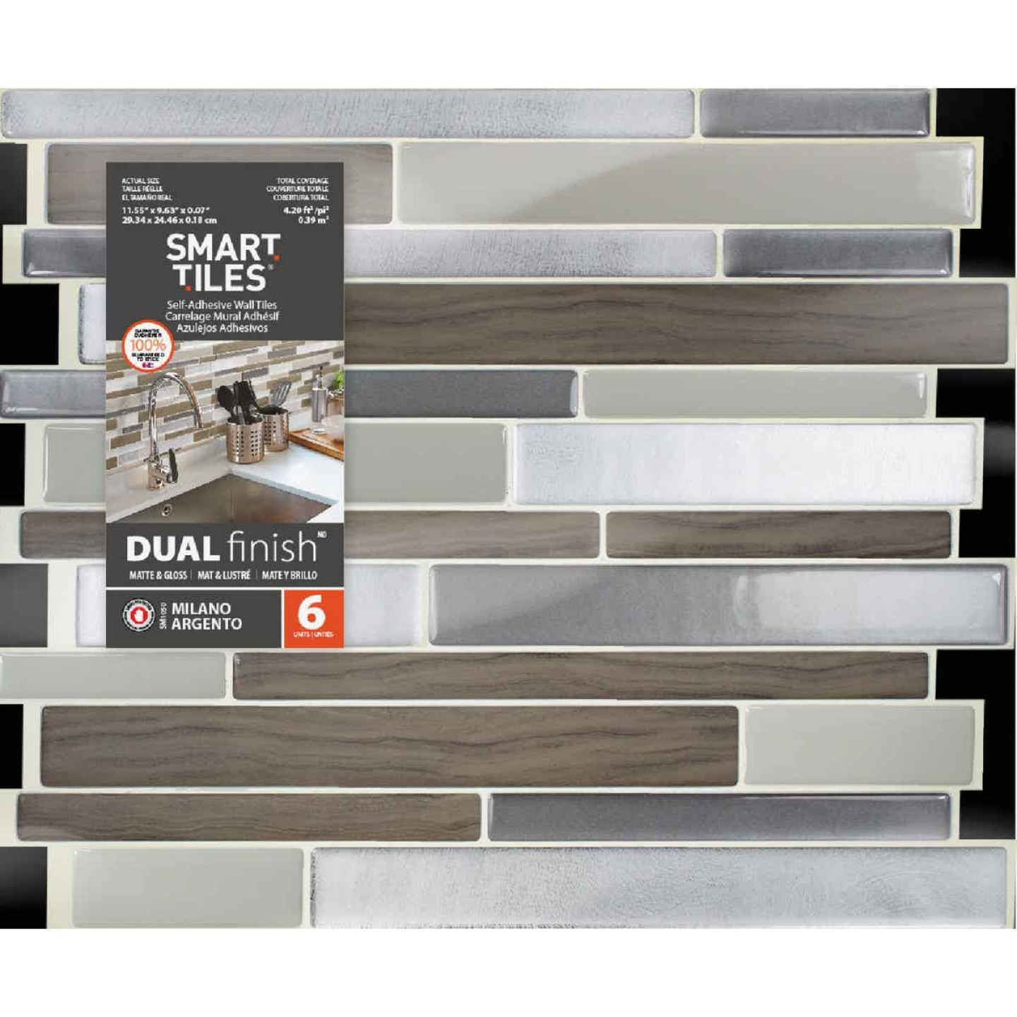 Smart Tiles 9.63 In. x 11.55 In. Glass-Like Plastic Backsplash Peel & Stick, Milano Argento Mosaic (6-Pack) Image 2
