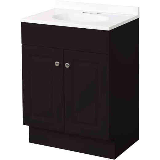 Zenith Zenna Home Espresso 30 In. W x 35 In. H x 18 In. D Vanity with White Cultured Marble Top