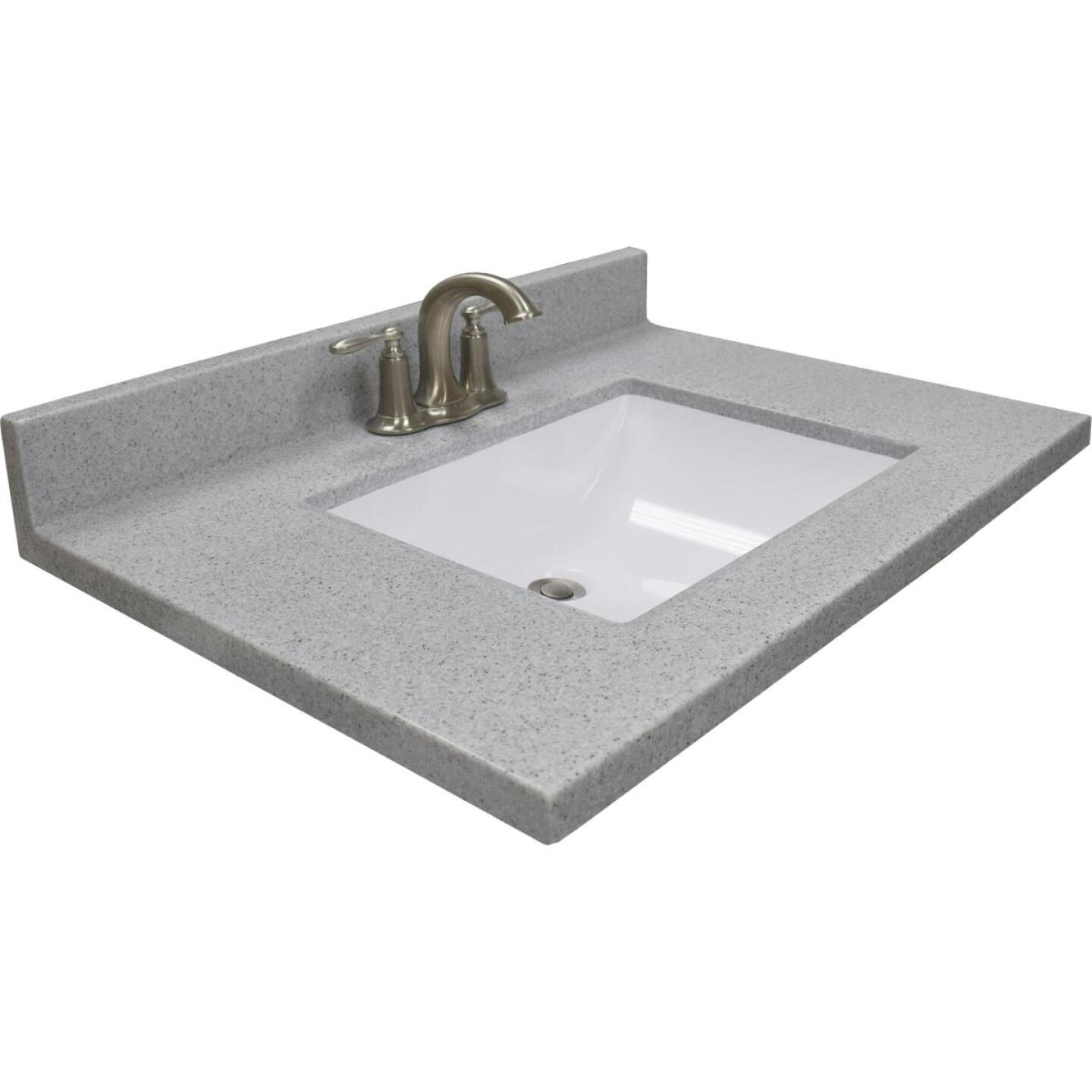 Modular Vanity Tops 31 In. W x 22 In. D Pewter Cultured Marble Vanity Top with Rectangular Wave Bowl Image 1