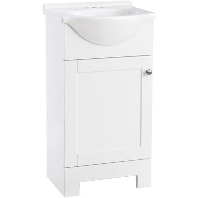 Continental Cabinets European White 18 In. W x 33-1/2 In. H x 12-1/2 In. D Vanity with Cultured Marble Top