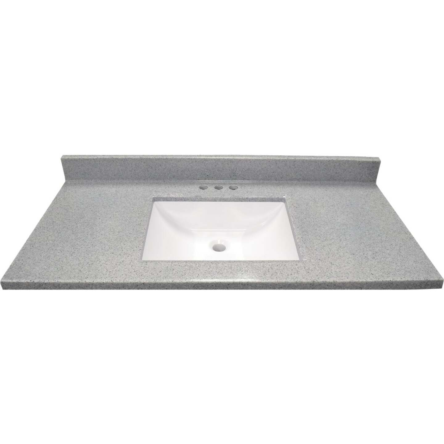 Modular Vanity Tops 37 In. W x 22 In. D Pewter Cultured Marble Vanity Top with Rectangular Wave Bowl Image 2