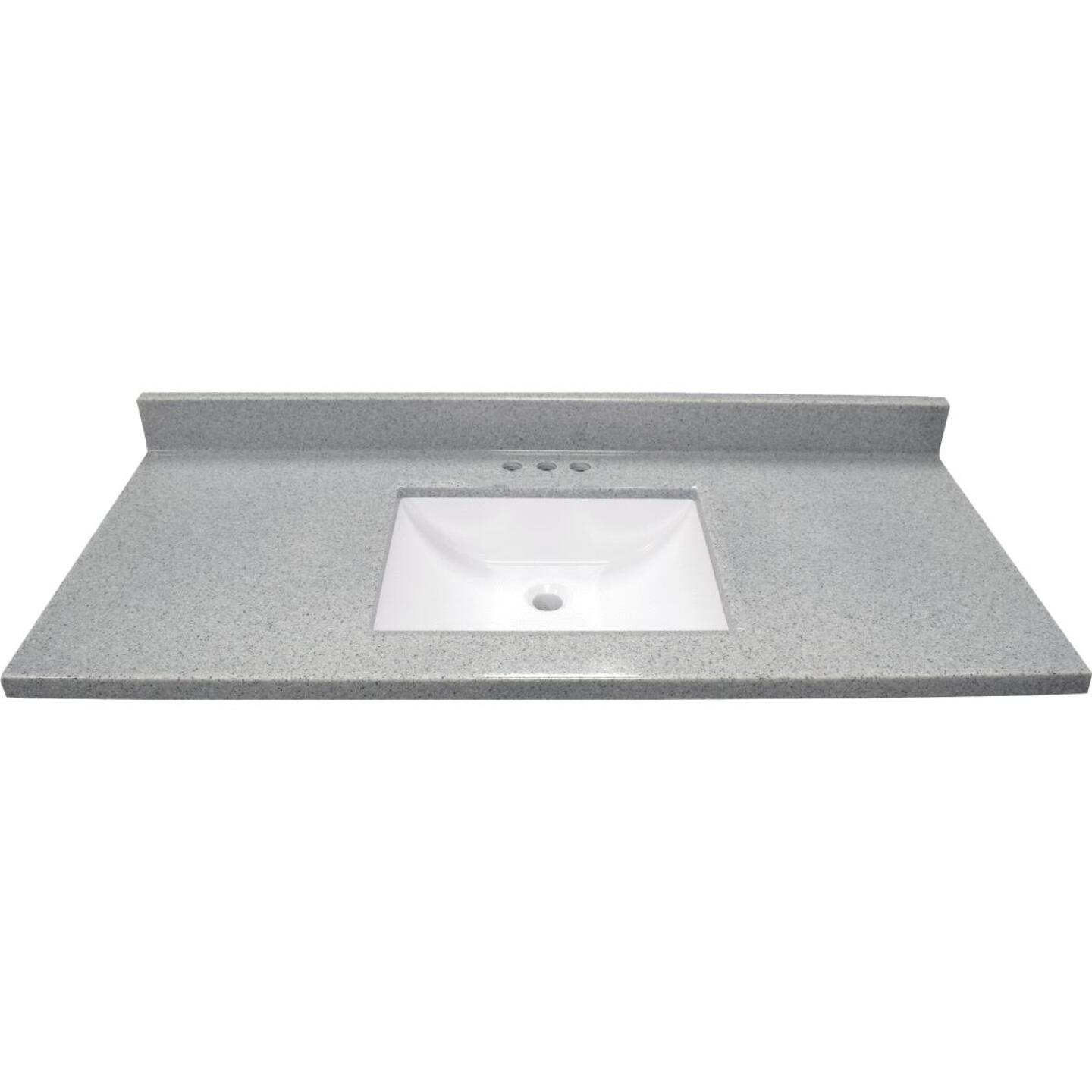 Modular Vanity Tops 49 In. W x 22 In. D Pewter Cultured Marble Vanity Top with Rectangular Wave Bowl Image 2
