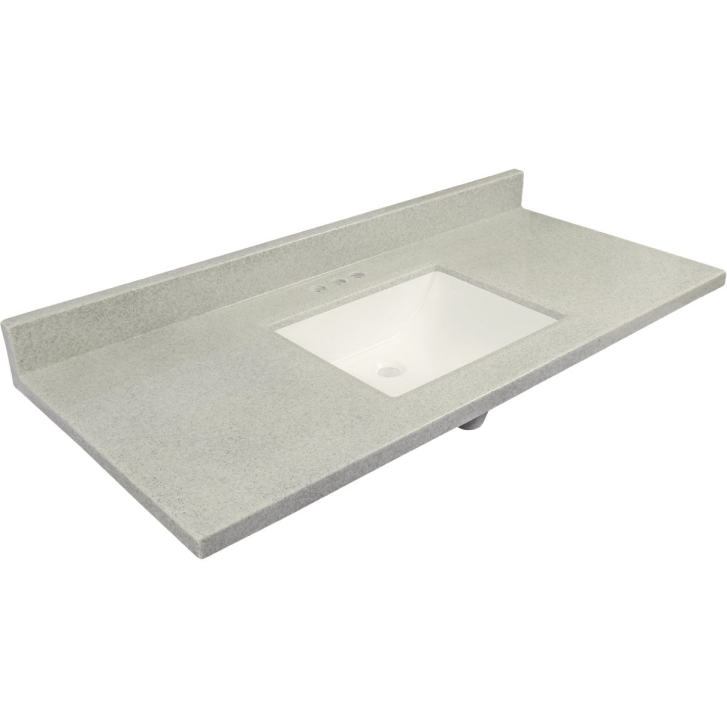 Modular Vanity Tops 49 In. W x 22 In. D Pewter Cultured Marble Vanity Top with Rectangular Wave Bowl Image 1