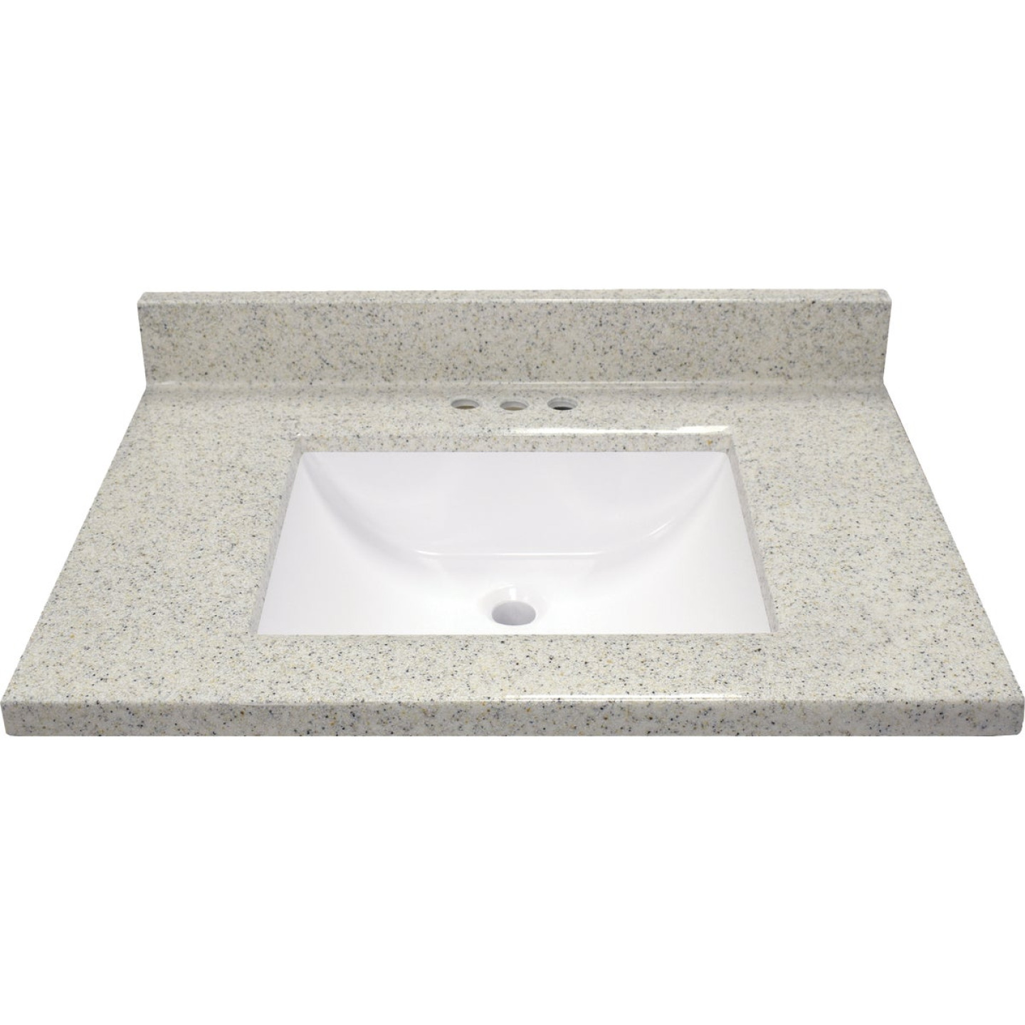 Modular Vanity Tops 31 In. W x 22 In. D Dune Cultured Marble Vanity Top with Rectangular Wave Bowl Image 2