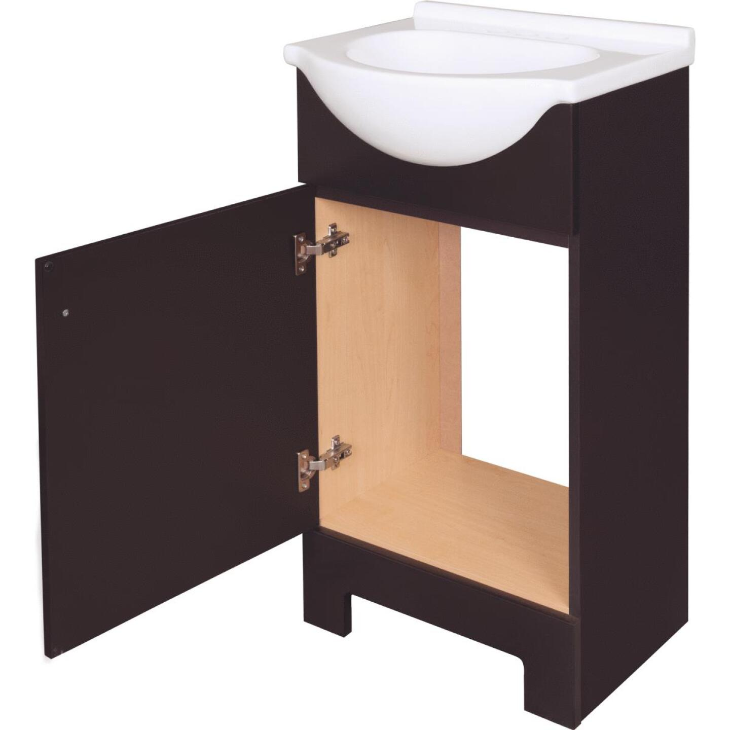 Continental Cabinets European Espresso 18 In. W x 33-1/2 In. H x 12-1/2 In. D Vanity with Cultured Marble Top Image 5