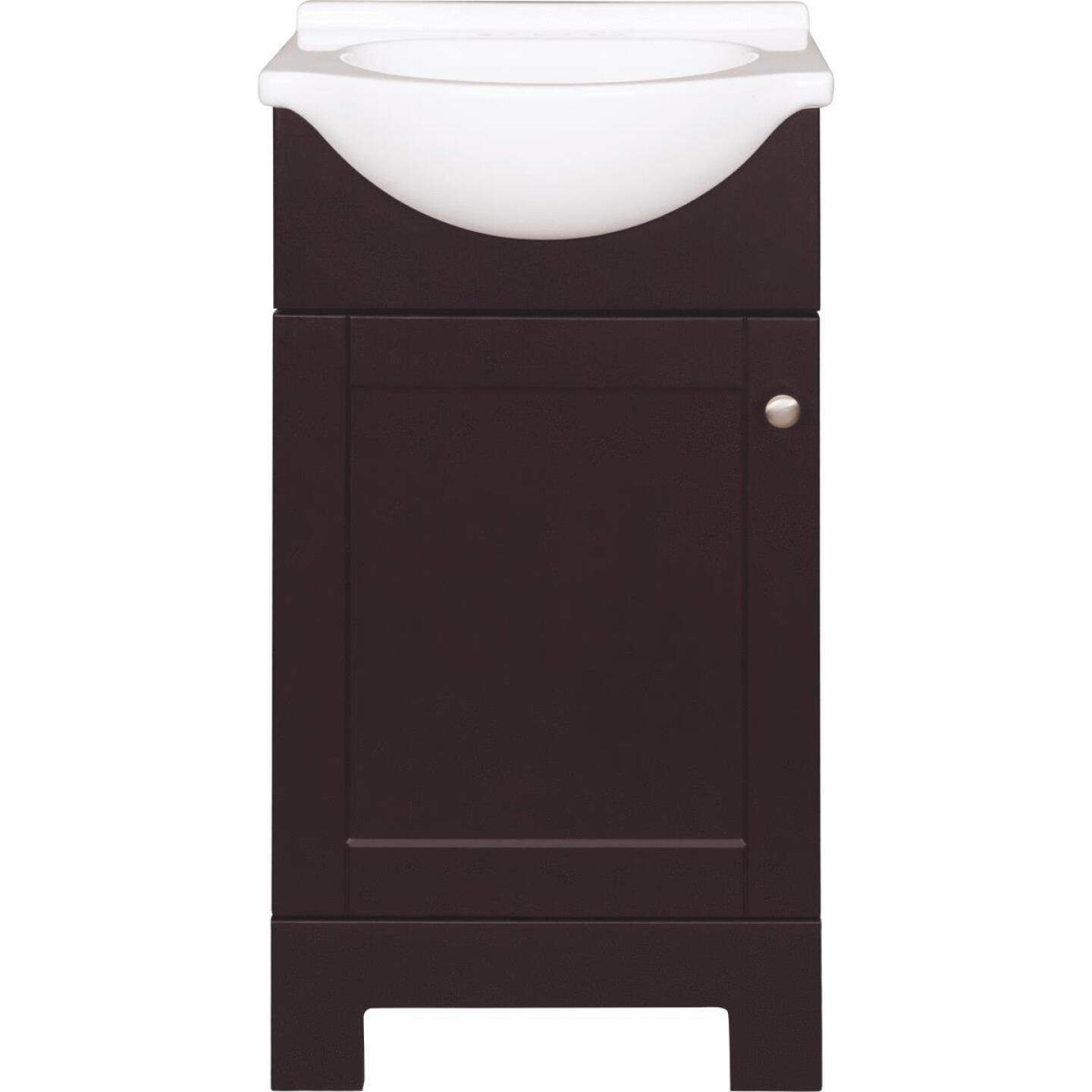 Continental Cabinets European Espresso 18 In. W x 33-1/2 In. H x 12-1/2 In. D Vanity with Cultured Marble Top Image 6