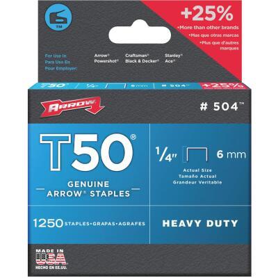 Arrow T50 Heavy-Duty Staple, 1/4 In. (1250-Pack)