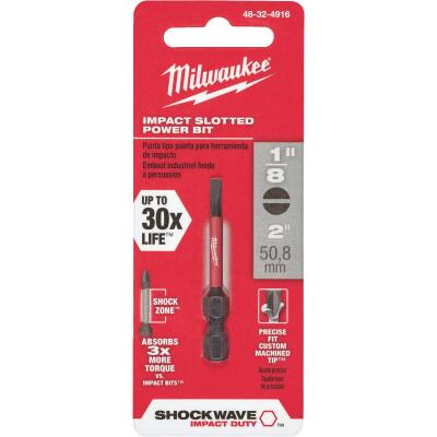 Milwaukee Shockwave 1/8 In. Slotted 2 In. Power Impact Screwdriver Bit