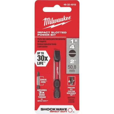 Milwaukee Shockwave 1/4 In. Slotted 2 In. Power Impact Screwdriver Bit