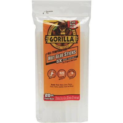 Gorilla 8 In. Standard Clear Hot Melt Glue (20-Pack)
