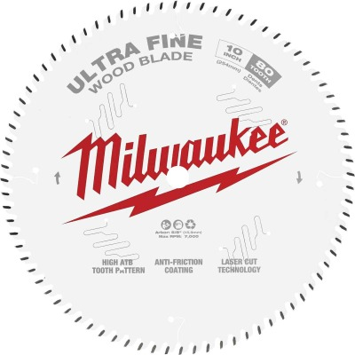 Milwaukee 10 In. 80-Tooth Ultra Fine Finish Circular Saw Blade