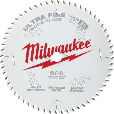 Milwaukee 7-1/4 In. 60-Tooth Ultra Fine Finish Circular Saw Blade, Bulk