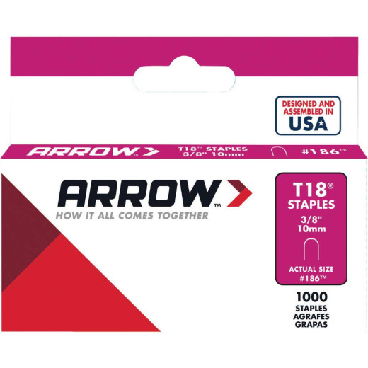 Arrow T18 Round Crown Cable Staple, 3/8 In. (1000-Pack)