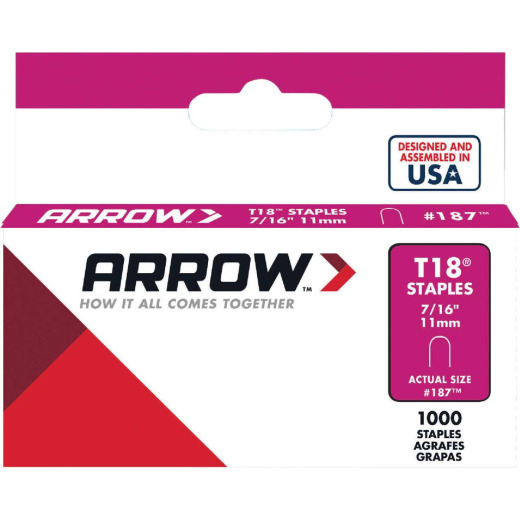 Arrow T18 Round Crown Cable Staple, 7/16 In. (1000-Pack)