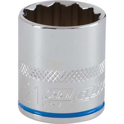 Channellock 3/8 In. Drive 21 mm 12-Point Shallow Metric Socket