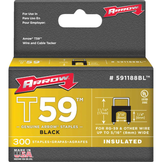 Arrow Insulated Black Cable Staple, 1/4 In. (300-Pack)