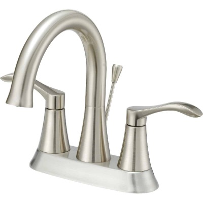 Home Impressions Brushed Nickel 2-Handle Lever 4 In. Centerset Bathroom Faucet with Pop-Up