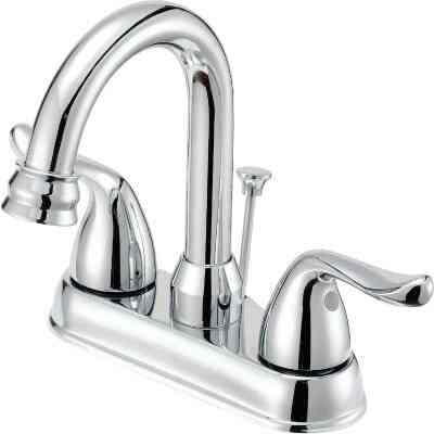 Home Impressions Chrome 2-Handle Lever 4 In. Centerset Hi-Arc Bathroom Faucet with Pop-Up