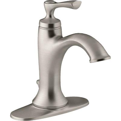Kohler Elliston Brushed Nickel 1-Handle Lever 4 In. Centerset Bathroom Faucet with Pop-Up