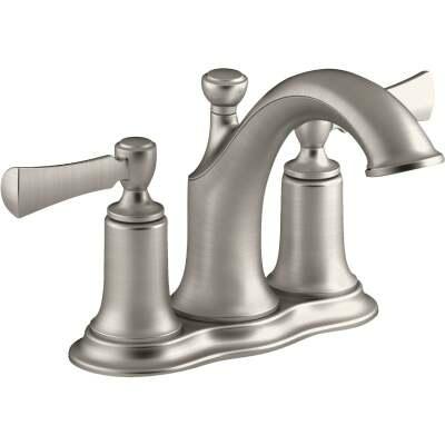 Kohler Elliston Brushed Nickel 2-Handle Lever 4 In. Centerset Bathroom Faucet with Pop-Up
