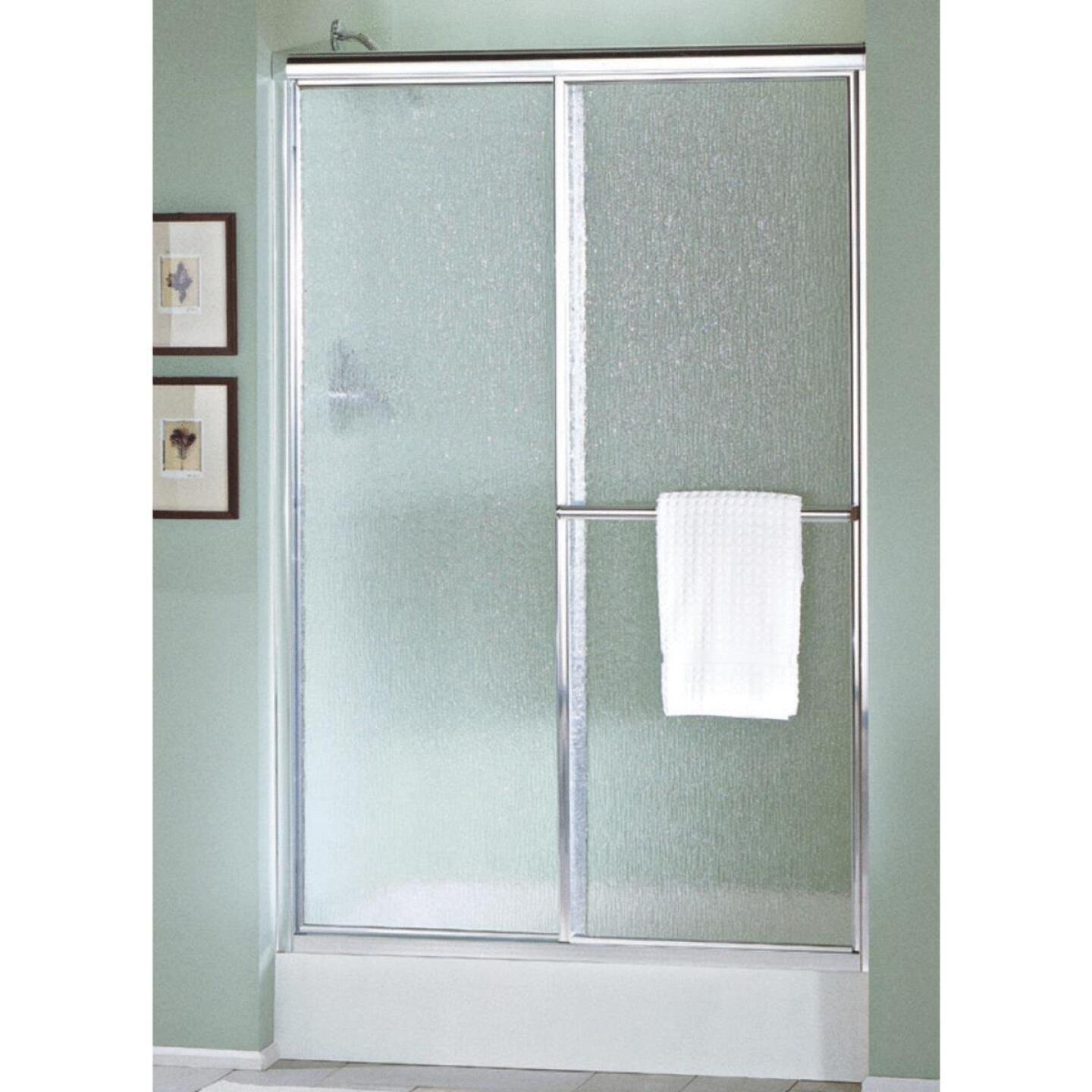 Sterling Deluxe 48-7/8 In. W. X 70 In. H. Nickel Rain Glass Sliding Shower Door Image 1