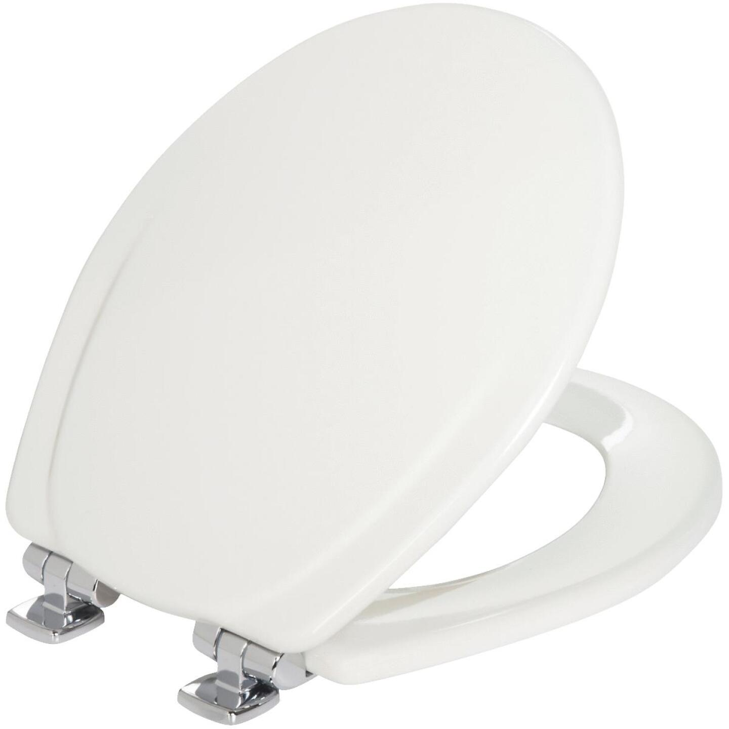 Mayfair Sta-Tite Round Slow Close White Wood Toilet Seat Image 1