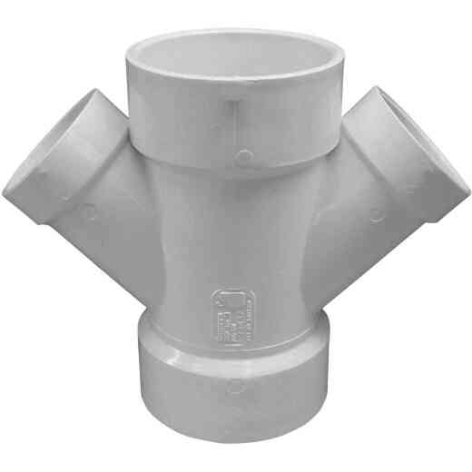 Charlotte Pipe 3 In. x 2 In. Schedule 40 DWV PVC Reducing Double Wye